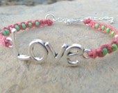Love Hemp Bracelet, Coral Hemp, Green Czech Glass Beads, Trendy jewelry, Gift For Her, Every Day, Gift, Free Shipping in USA