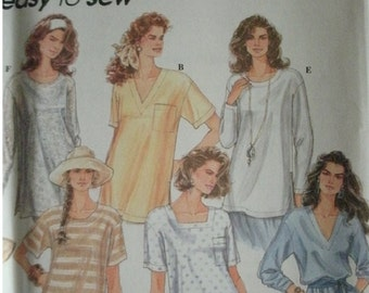 Misses Pullover Top with Neckline Variations Size 6-8-10-12-14-16 Simplicity Easy to Sew Pattern 8853 MINT UNCUT Pattern dated 1994