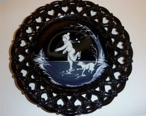 Gorgeous Mary Gregory Skater Boy with Dog on Black Glass Lace edge  Westmoreland Glass Perfect condition Great gift!