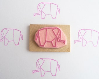 Origami elephant hand carved rubber stamp