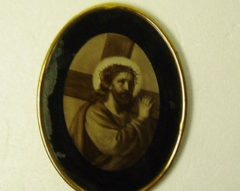 antique framed picture behind glass Jesus