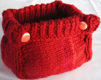 Red hand knitted catch all basket or container