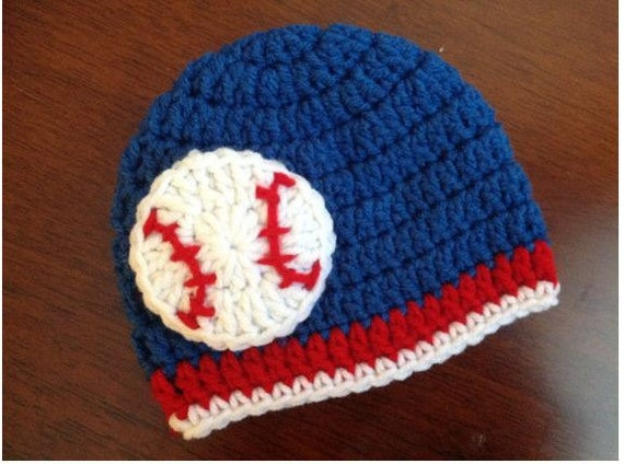 Baby Baseball Hat Baby Crochet Hat Chicago Cubs Toronto Blue
