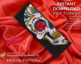 Peyote Pattern Bracelet Cuff Beading Miyuki Delica Size 11 Beads - PDF Download - Sugar Skull
