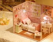 Light Up Dollhouse Miniature Bedroom | DIY Dollhouse Bedroom | diy dollhouse | dollhouse kit | miniature furniture kits