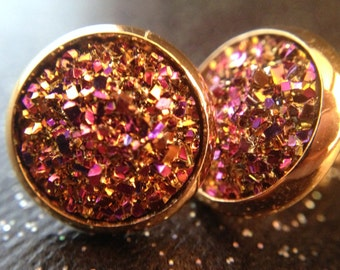Rose Gold Stud Earrings / Rosy Gold Jewelry / Nature Jewelry / Gold Druzy / Fake Drusy / Druzy Earrings / 12mm Studs / Pink and Gold