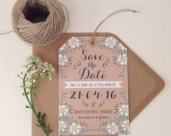 25 x fleurs de printemps enregistrer l'étiquette de bagage Date, papeterie de mariage rustique, mariage en plein air, mariage moderne, enveloppe Kraft, étiquette de bagage