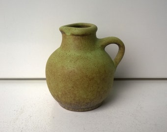 Handled Vase, Green, Nr 162/9, West German Pottery, 1970s