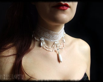 White lace Gothic necklace,choker,dark,choker,jewellery,chains, wedding,halloween,vintage,cosplay