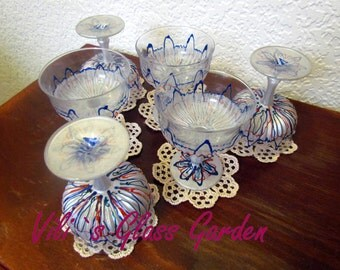 """Hand painted Ice cream bowls """" Lace blue """", set of six"""