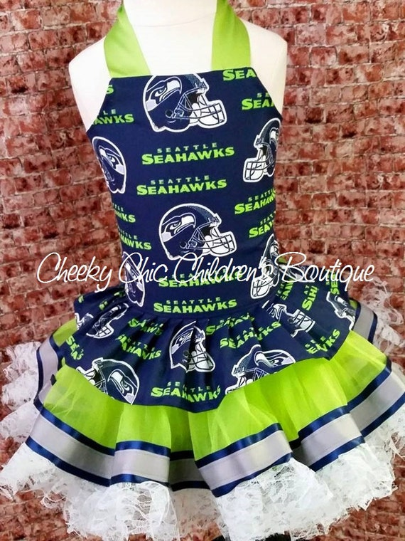 SEATTLE SEAHAWKS Toddler & Child Corset-Style Top with Matching Ribbon and Lace Trimmed Tutu