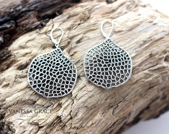 Large Sterling Silver 'Honeycomb' Pattern Earrings