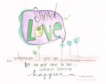 Mother Teresa art - Flower art -Girls art quote - Kids wall art - Mother Teresa quote - Girls bedroom art - Love art - Room decor for girls