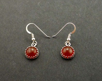 Carnelian Sterling Silver Earrings