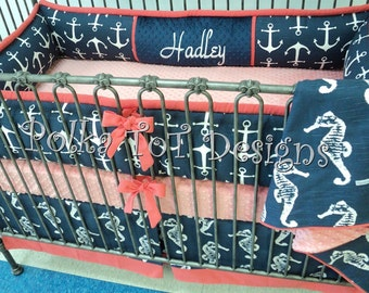 4 piece Hadley:  Navy , White & Coral  Nautical Baby Bedding