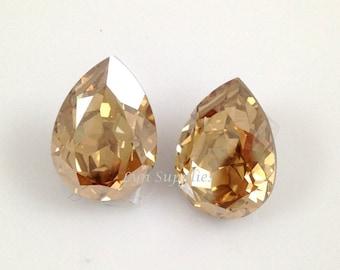 4320 GOLDEN SHADOW 18x13mm Swarovski Crystal Teardrop Fancy Stone 2pcs Optional Sterling Silver Plated Pendant Setting