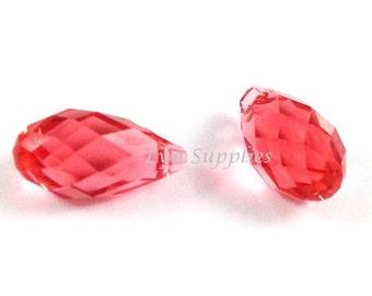 6010 PADPARADSCHA 13mm Swarovski Crystal Briolette Drop 2pieces