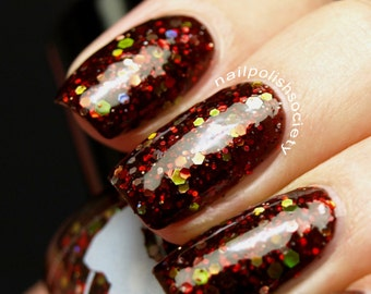 Red Death - 5 ml mini - rusty black jelly polish with red, silver, green and yellow glitter and shimmer - indie polish by ALIQUID Lacquer