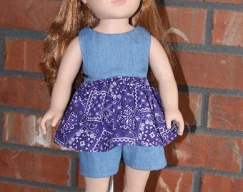 "Denim with Purple Bandana Print Short Set for 18"" doll like American Girl"