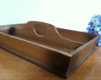 Vintage Wooden Divided Tray with Handle Rustic Wood Caddy
