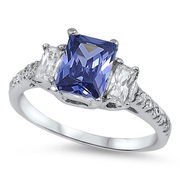 Wedding Band Tanzanite: 3 Stone Wedding Engagement Ring Sterling Silver 6CT Blue