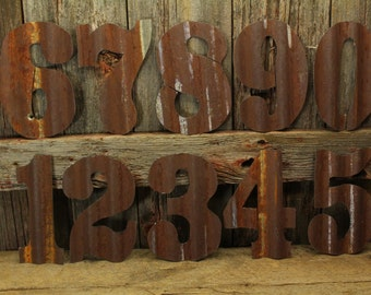 Rusty Tin Numbers, FREE Shipping, Large rustic number, Giant Numbers, Home Decor, lucky number, house number, rustic outdoor numbers