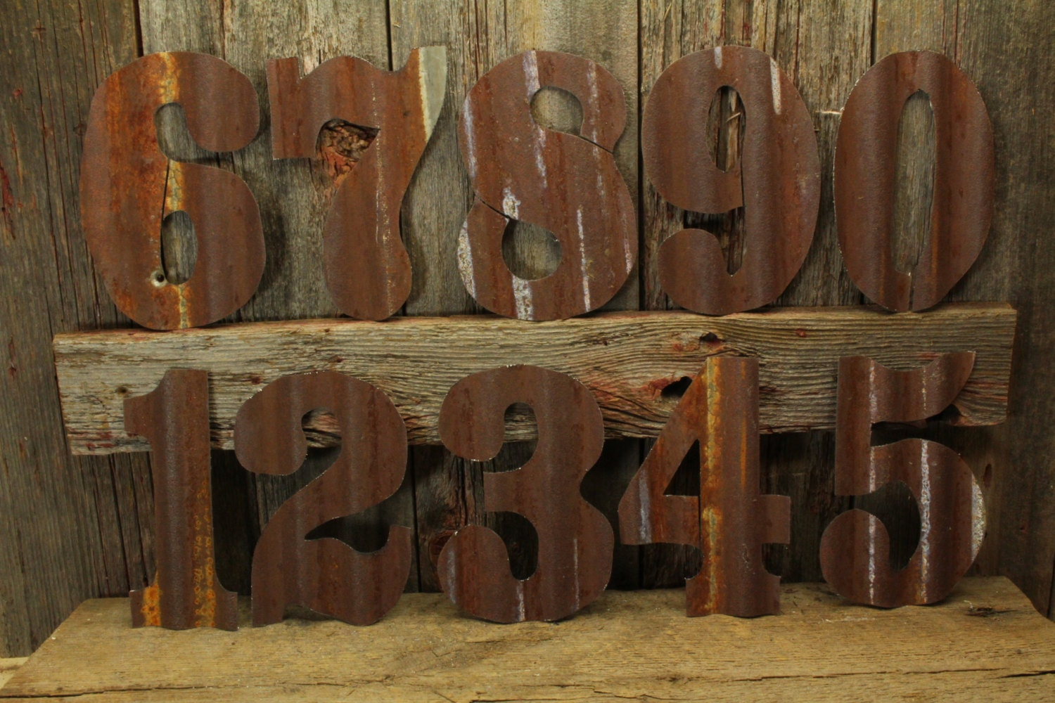 Rusty tin numbers free shipping large rustic number giant for Number 3 decorations