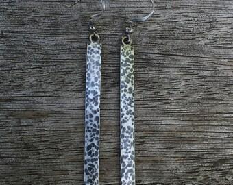 Long oxidized silver earrings