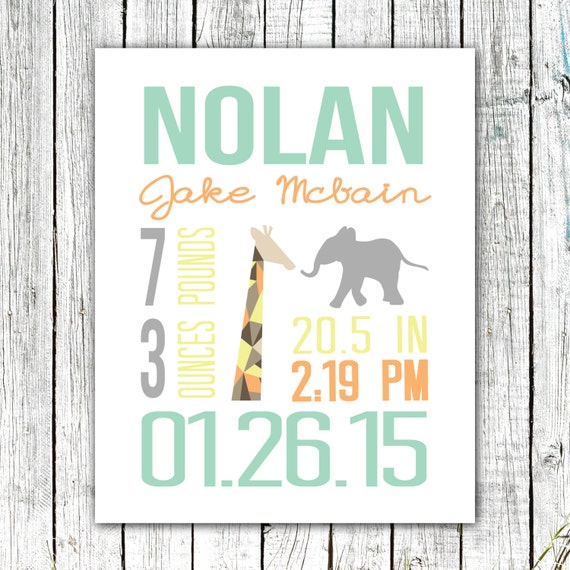 Custom Birth Announcement, Printable art, Wall Art Print, Safari, 8x10 or 11x14 #05