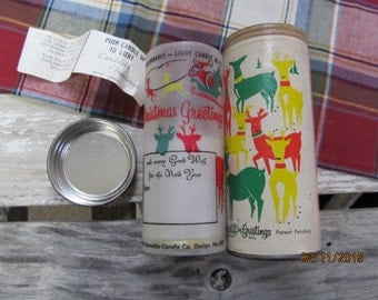 Sale last chance to buy~Vintage Candelite Greetings Candle Mailer 1959 Mid Century Gift Shipper Reindeer Candle Holder Shipping tube
