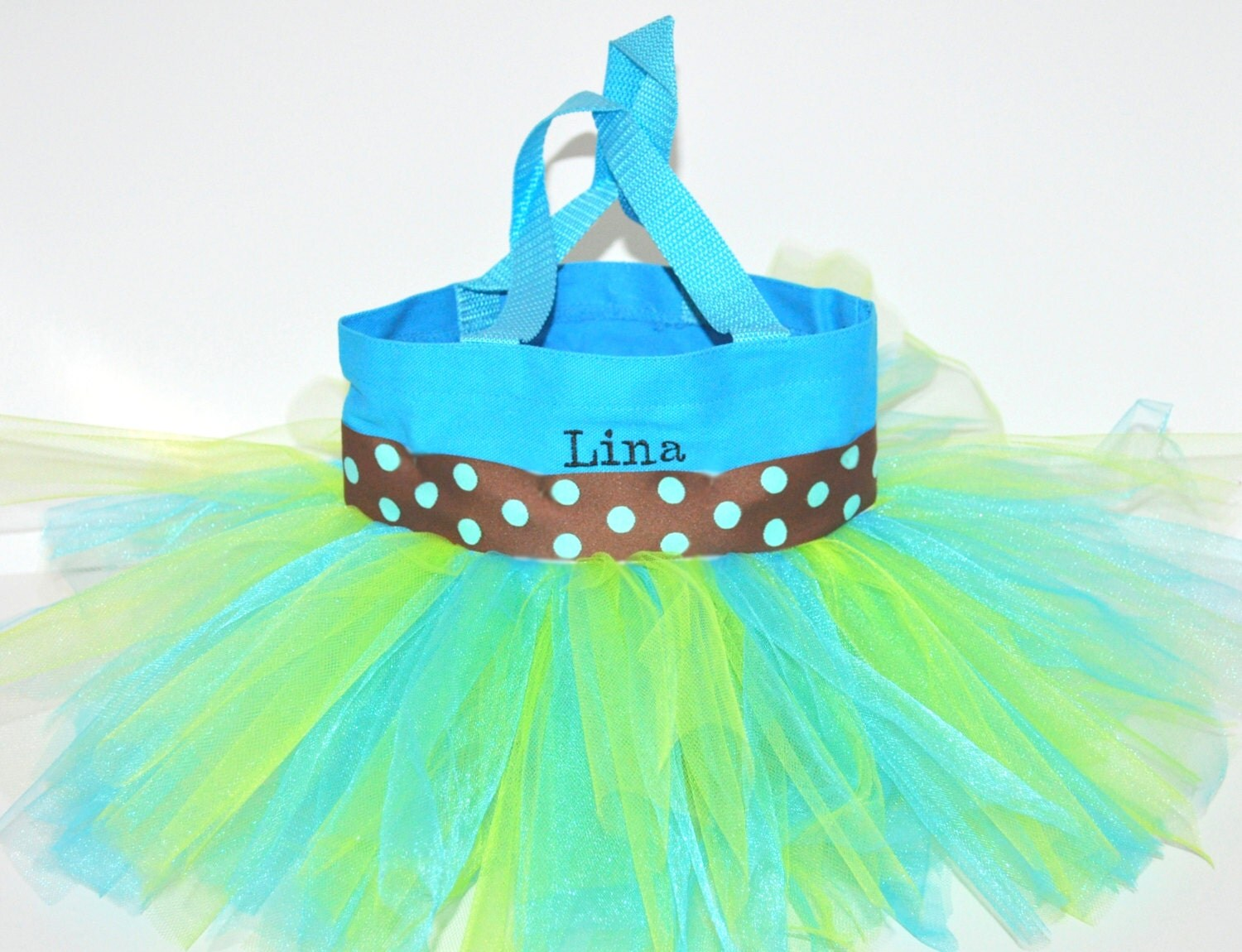 Ribbon Brown With Light Blue Dots 64