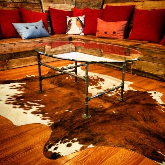 Industrial Pipe Oval Coffee Table