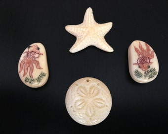 "1 Carved Bone FISH STARFISH SANDDOLLAR bead natural color for jewelry pendants 3/4""-1"""