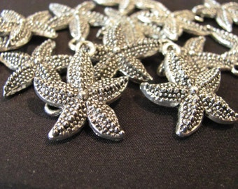 6 SILVER STARFISH charms for jewelry pendants sea life ocean beach 7/8""