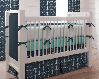 Boy Baby Crib Bedding: Navy Anchors Crib Bedding - Fabric Swatches Only