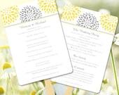 "Printable Wedding Program Fan Template   ""Floral Petals"" Sunshine Yellow & Gray   Editable Word.doc    ANY COLOR COMBINATION    You Print"