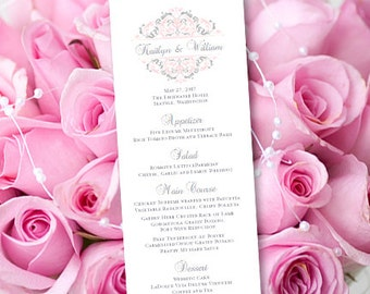 """Printable Wedding Menu Template """"Grace"""" Pink & Silver Gray Editable Word.doc Instant Download ALL COLORS Available DIY You Print"""