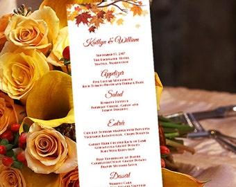 "Printable Wedding Menu Template Fall or Thanksgiving ""Falling Leaves"" DIY Microsoft Word Editable Text Instant Download DIY You Print"