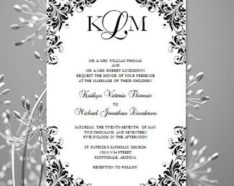 Black White Wedding Invitation Kaitlyn Printable Template Make Your Own Invitations All Colors