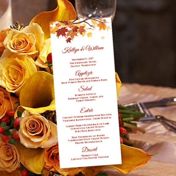printable wedding menu template fall or thanksgiving. Black Bedroom Furniture Sets. Home Design Ideas