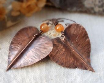 Copper Leaf earrings Copper Earrings  Boho Earrings Autumn Leaf Nature jewelry Autumn Earrings Metal leaf earrings