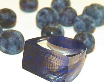 Azure Blue Resin Rings, Blue Feather Rings, Blue Jewelry, Trending Blue Rings, 2016 Rings, Fall Jewelry, Trending Rings, ResinHeavenUSA