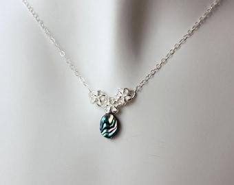 Plumeria Silver Link Necklace, Silver Frangipani Necklace, Hawaiian Plumeria Necklace, Beach Wedding Necklace, Plumeria Abalone Necklace