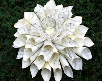 Wedding Candle Holder Centerpiece with Vintage Music Paper