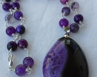 Handmade silver,  purple agate pendant necklace