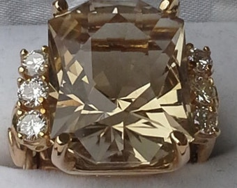 Custom cut stone ring 14 KT gold,  golden yellow citrine and diamonds.