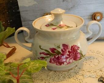 Vintage Covered 2 Handled Sugar Bowl Hibiscus Flowers