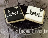 Black and White Love Cookie for Wedding, Bridal, or Engagement Favors