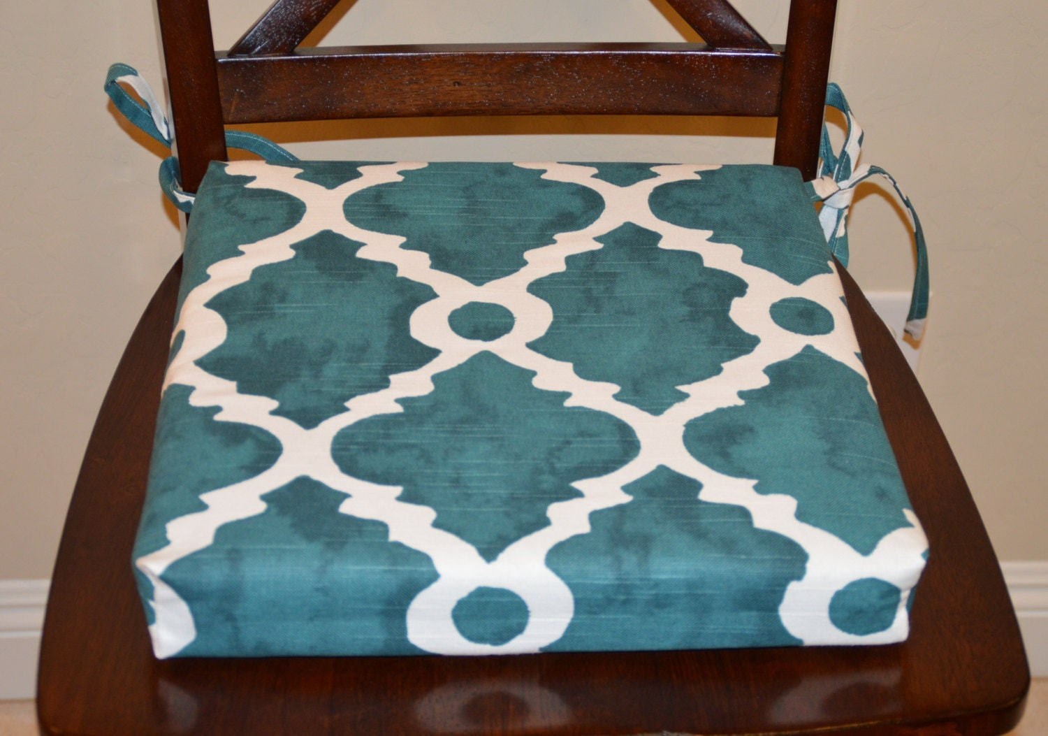 Kitchen Chair Seat Cushion Covers: Teal And White Chair Cushion Cover. Washable Removable