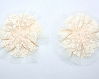 """SALE 3.75"""" Ivory Lace Tulle Flower 2 Pieces"""